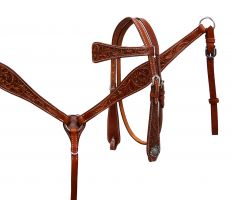 Tooled, Plain Leather, and Buck Stitched Bridle and Breast Collar Sets