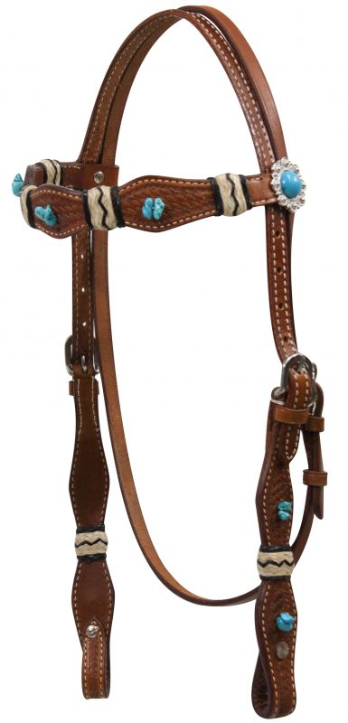 Showman 174 Turquoise Stone Beaded Headstall With Rawhide