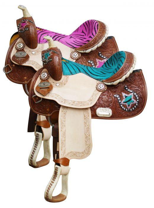 Double t youth pony saddle with hair on zebra print seat and horse
