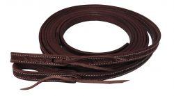 Showman 8 ft Argentina Cowhide Double Stitched Leather SPLIT REINS Bit Tie Loops